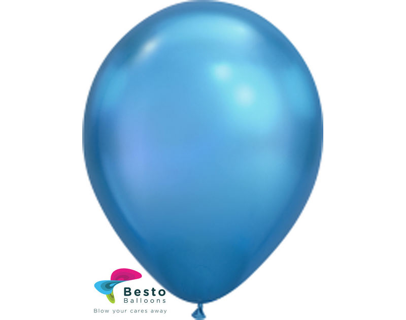Blue Chrome Latex Balloon 12 inch