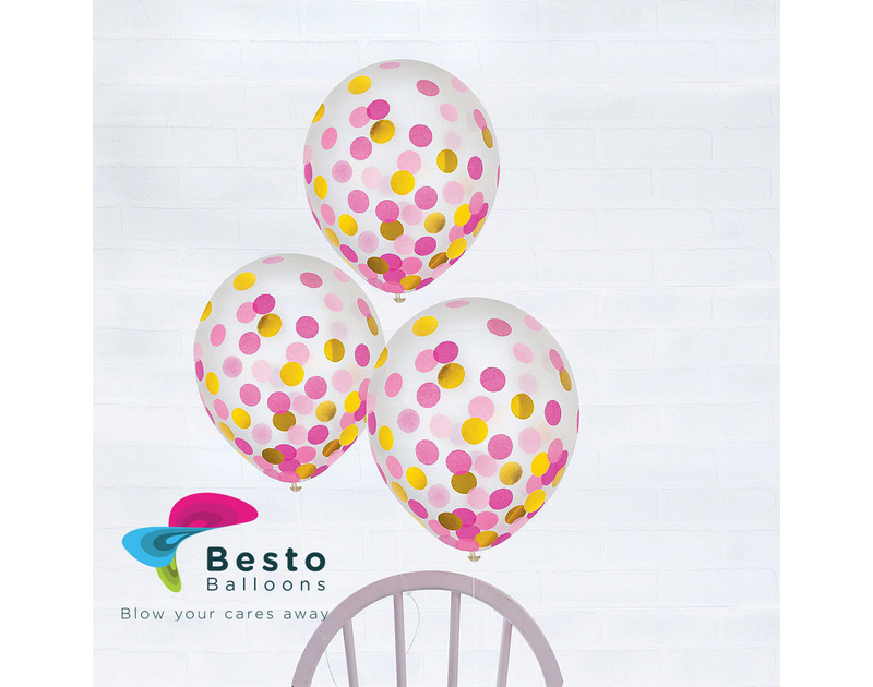 Pink And Golden Confetti Transparent Latex Balloon 12 inch