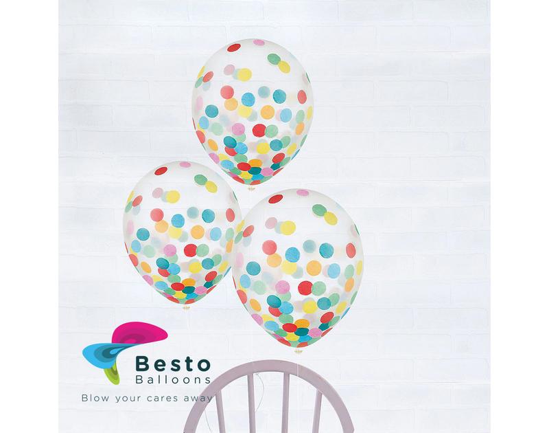 Multicolor Confetti Transparent Latex Balloon