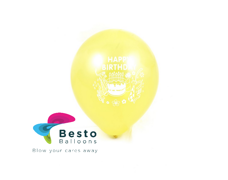 9 Inch Round Shaped Happy Birthday Printed Balloons Small Mix Colors