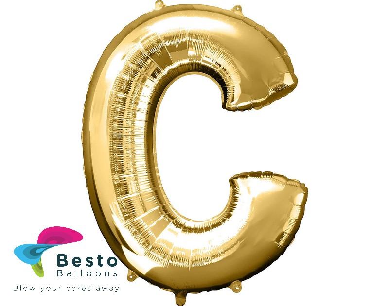 """Golden Alphabet Foil Balloon """"C"""""""