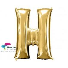 """Golden Alphabet Foil Balloon """"H"""""""