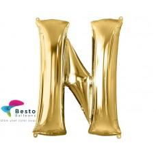 """Golden Alphabet Foil Balloon """"N"""""""