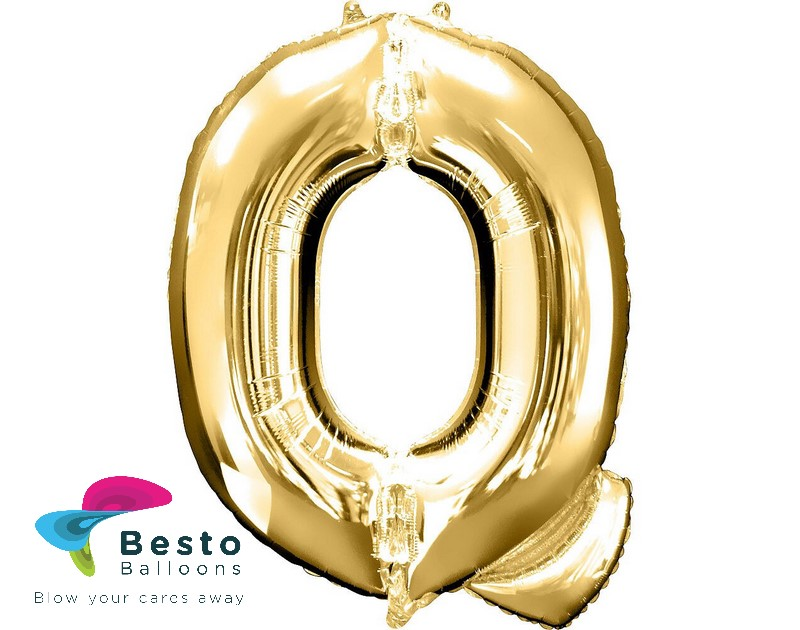 "Golden Alphabet Foil Balloon ""Q"""