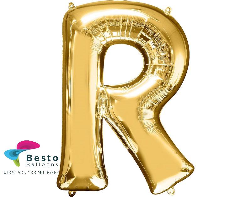"""Golden Alphabet Foil Balloon """"R"""""""