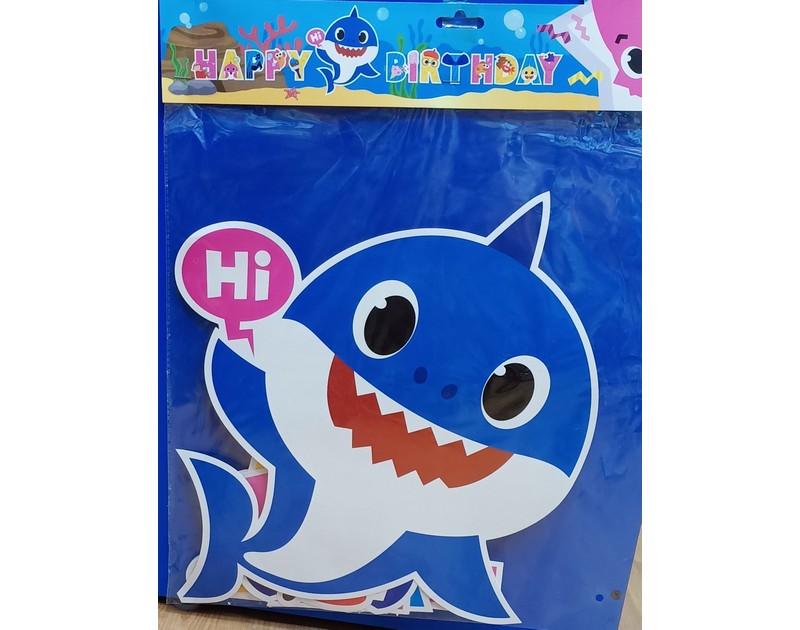 Baby Shark Happy Birthday Chain Large Blue
