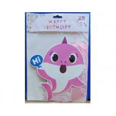 Baby Shark Happy Birthday Chain Medium Pink