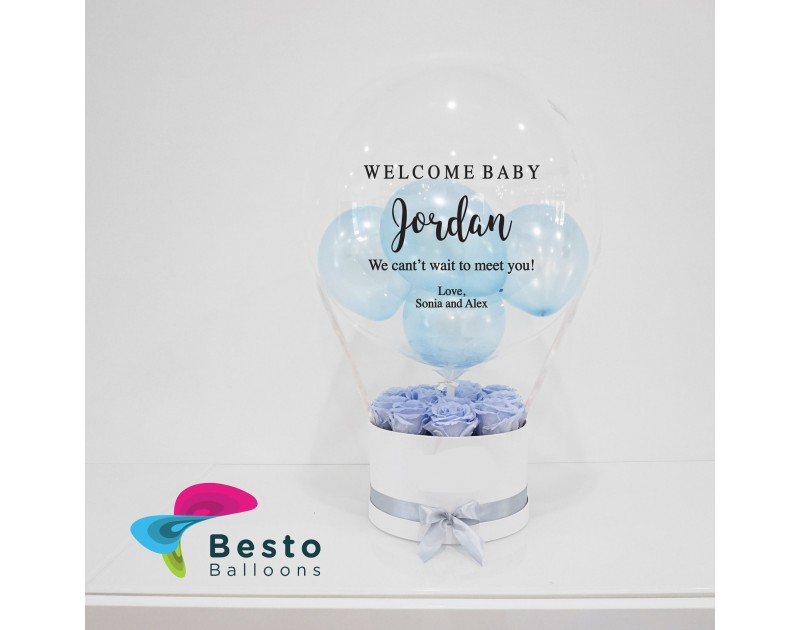 Light Blue Rose Box Printed Bubble Balloon