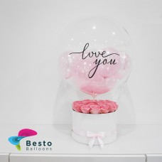 Pink Rose Box Love You Printed Bubble Balloon