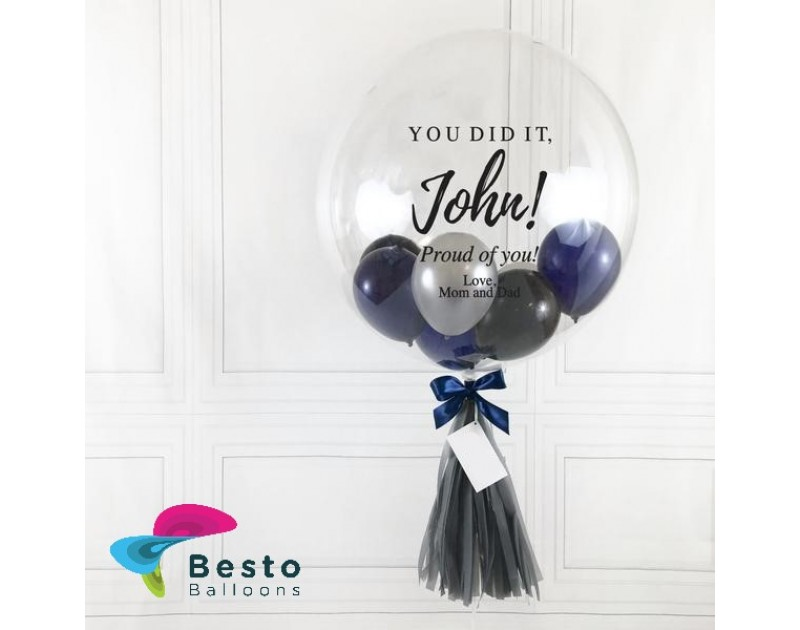 Mixed Navy Mini Bubble Balloon