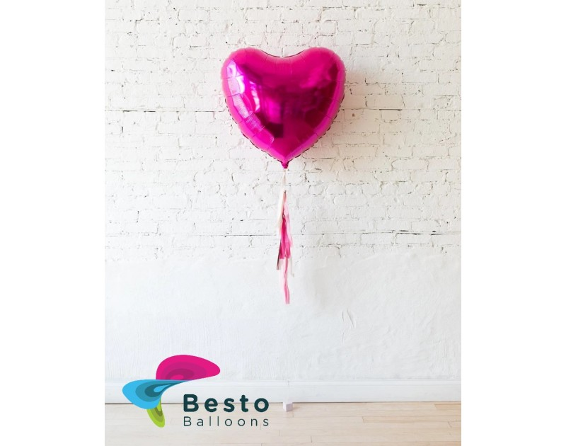 18in Magenta Heart Foil Balloon and Shades of Pink Palette