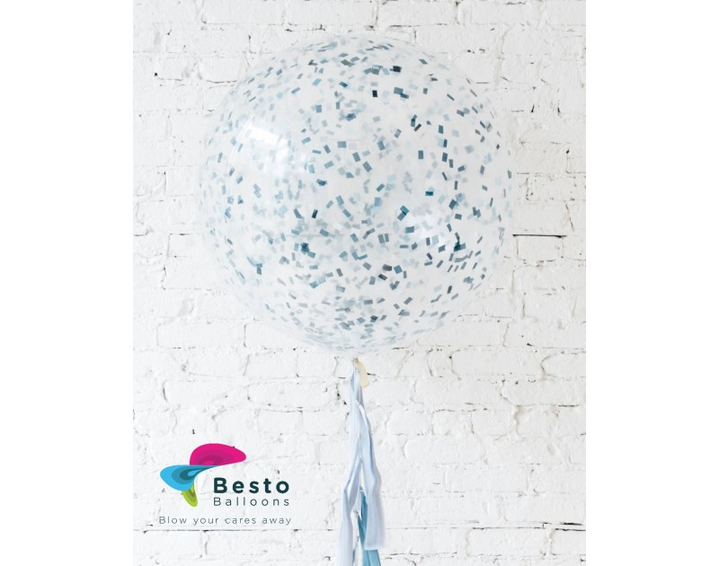 Mixed Blues Confetti Giant Balloon