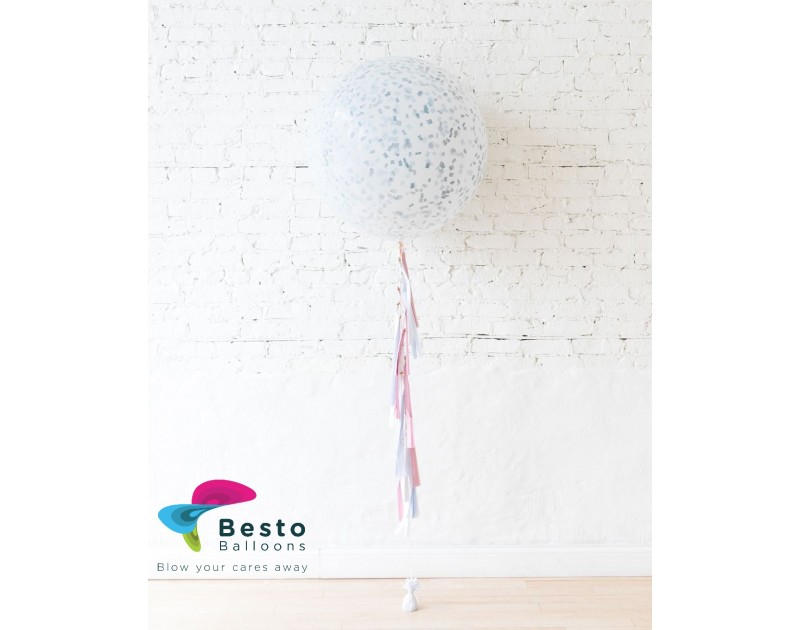 Frosted Blue Giant Balloon and Gender Reveal