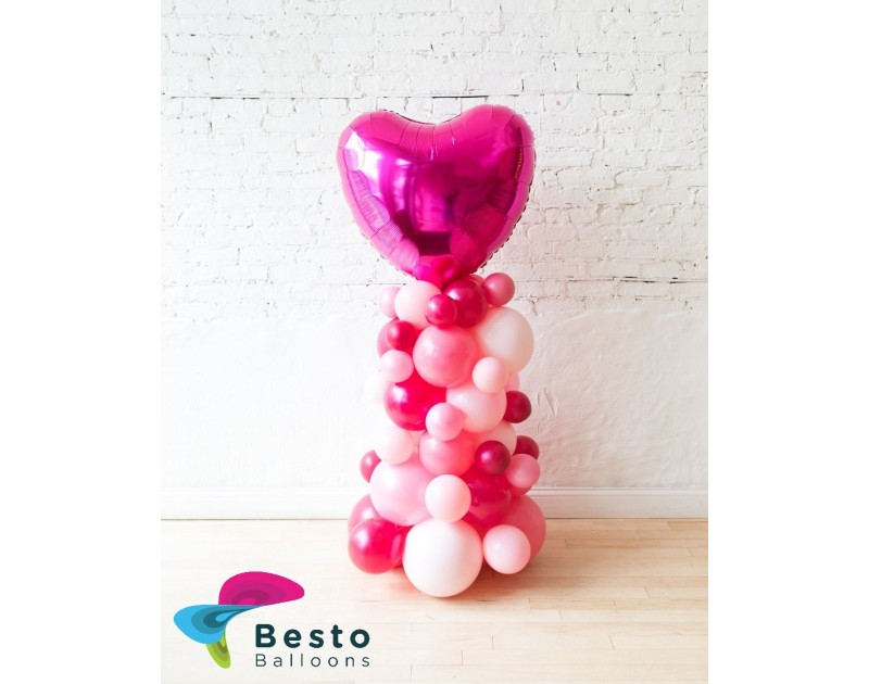 Shades of Pink and Magenta Heart Balloon Column - small