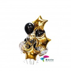 Balloon Bouquet Black and Golden