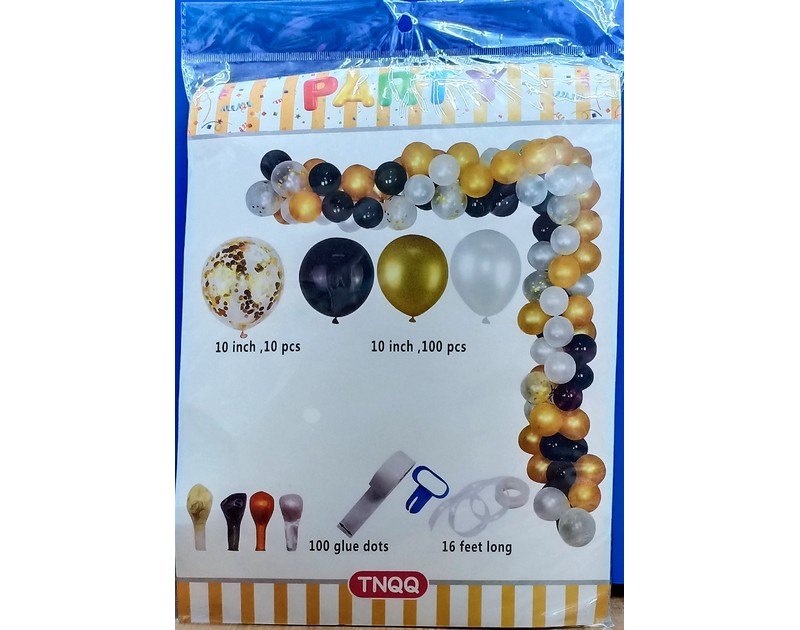 Golden Confetti White And Black DIY Balloon Garland Kit