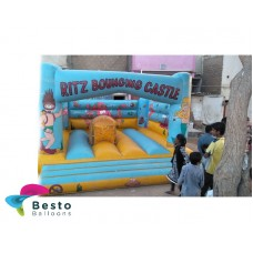 Bouncing Castle Blue Large 14x14 Size Rental Service for Karachi Only