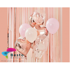 Blush And Rose Gold Metallic Balloon Bouquet 12inch