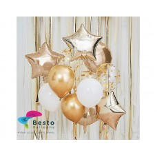 Metallic Gold And White Balloon Bouquet 12inch