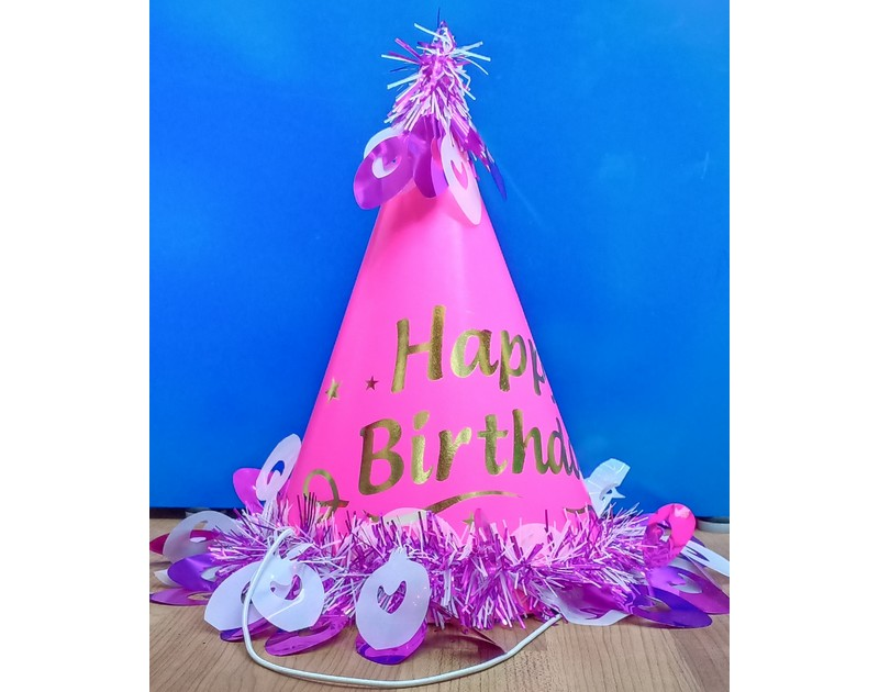 Happy Birthday Pink Cap with Frill