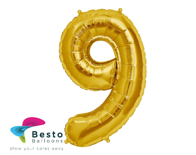 Number Foil Balloon 9 Golden