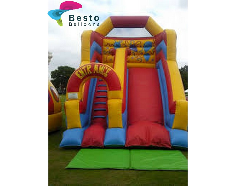 Yellow and Pink Inflatable Slide Rental Service