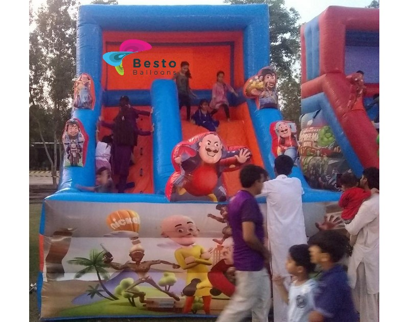 Mottu and Patlu Inflatable Slides and Bouncing Combo Rental Service