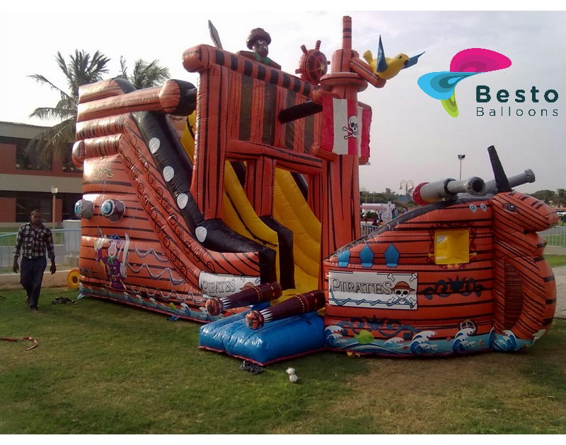 Pirate Inflatable Slides and Bouncing Combo Rental Service
