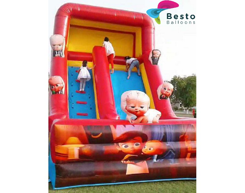 Boss Baby Inflatable Slide and Bouncing Combo Rental Service for Karachi Only