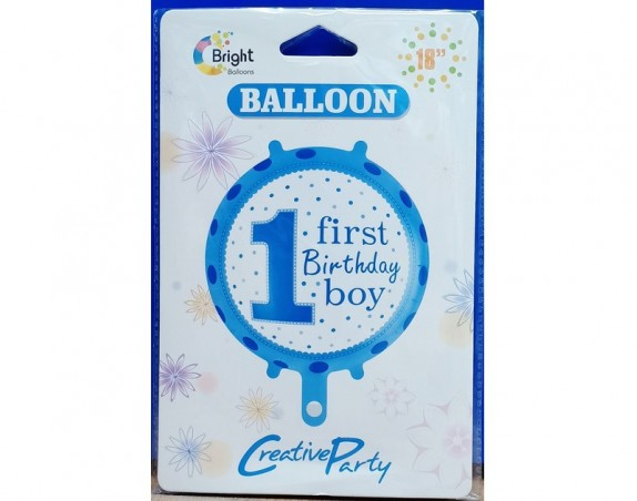 1st Birthday Boy  Foil Balloon Round 18 inch