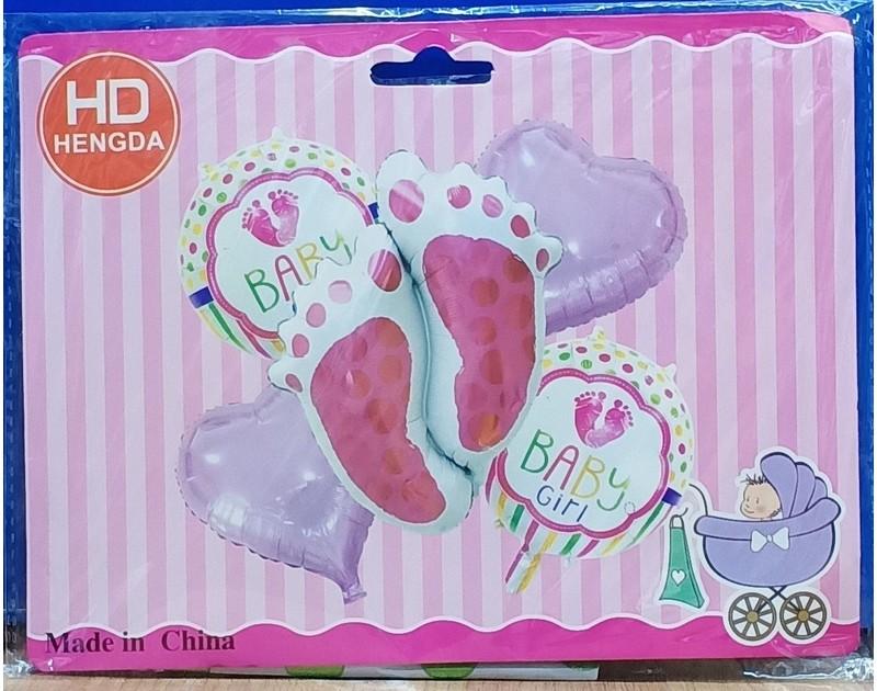 Its a Girl 5 Pcs Foil Balloon Bouquet Foot