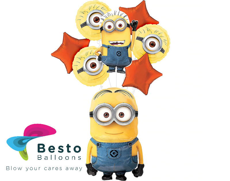 Minion Foil Balloon Bouquet 5 pcs