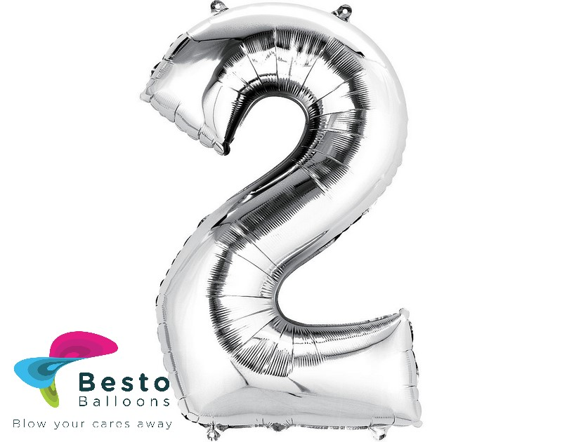 Number Foil Balloon 2 Silver