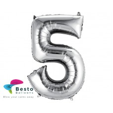 Number Foil Balloon 5 Silver