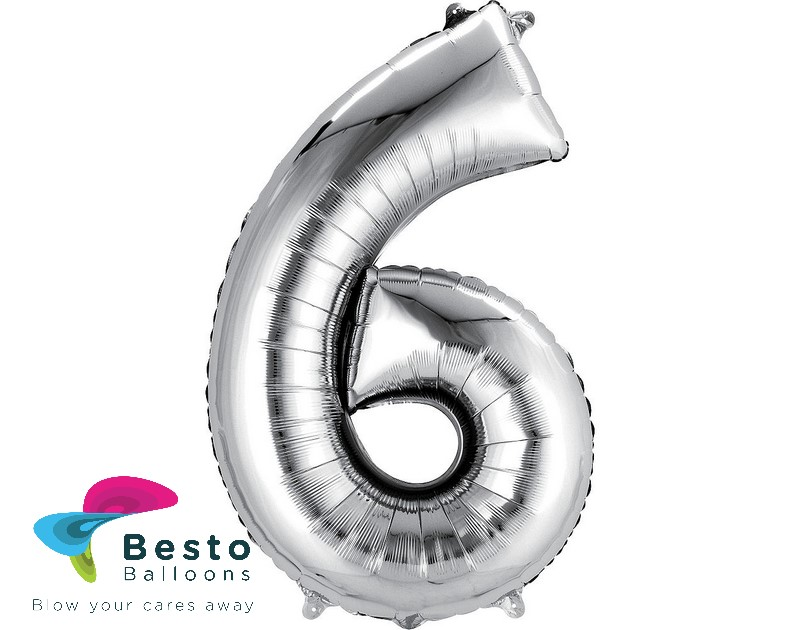 Number Foil Balloon 6 Silver