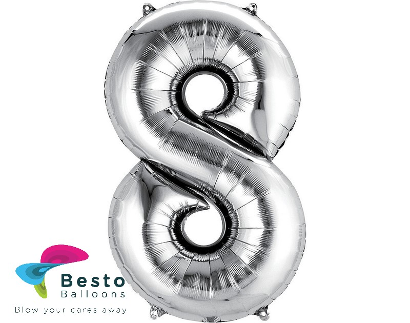 Number Foil Balloon 8 Silver