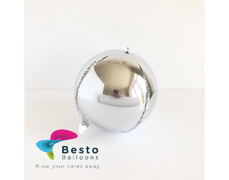 Silver Orbz Metallic Foil Balloon