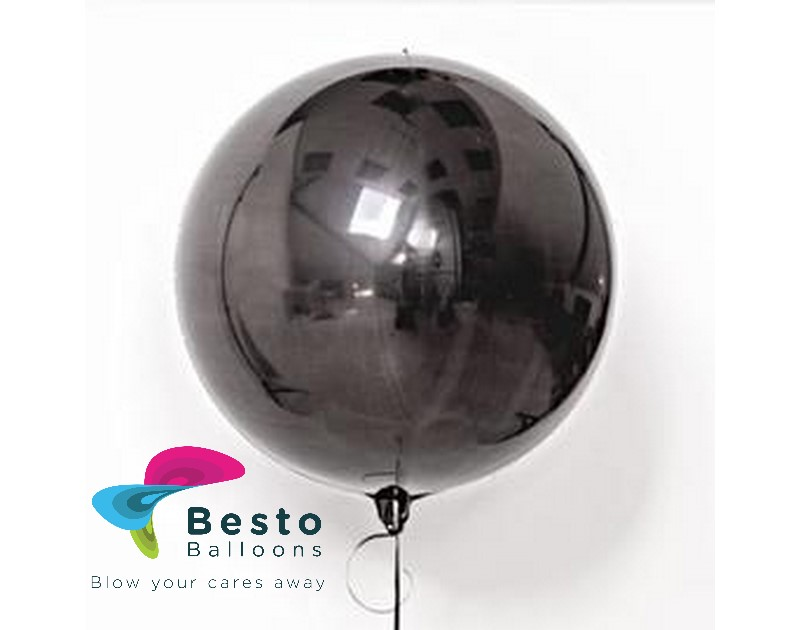 Black Orbz Metallic Foil Balloon