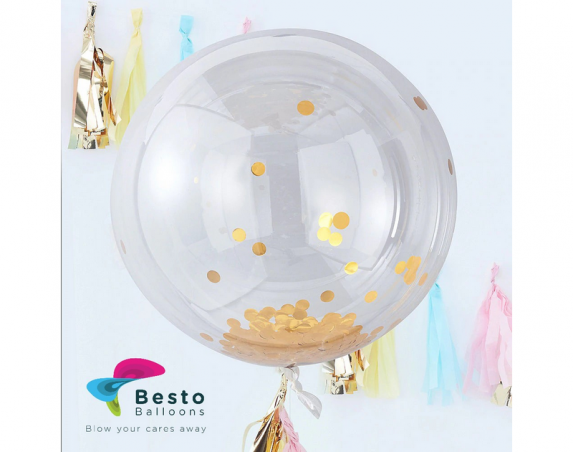 36 Inch Golden Confetti Transparent Balloon