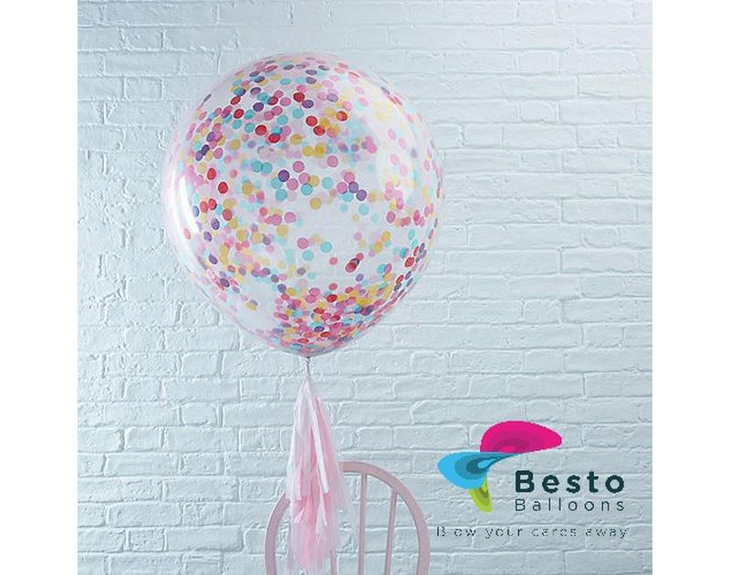 12 Inch Multicolor Confetti Transparent Balloon