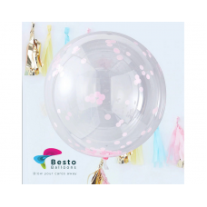 36 Inch Pink Confetti Transparent Balloon