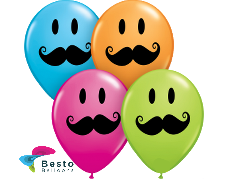 Customized Mustache Smile Double Side Print Balloons