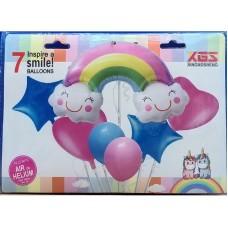 Rainbow Foil Balloon Bouquet 7 Pcs