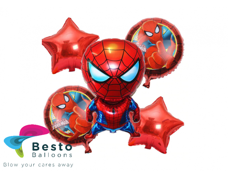 Spiderman Foil Balloon Bouquet 5 pcs
