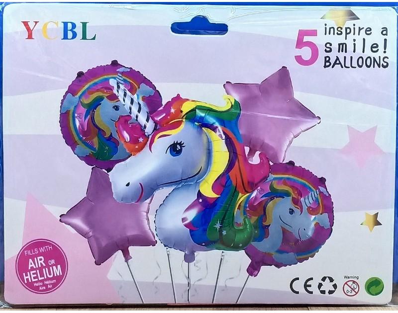 Unicorn 5 Pcs Foil Balloon Bouquet Colorful