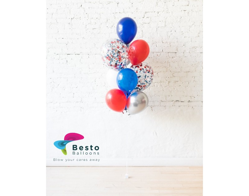 Latex Balloon Bouquet Blue and red