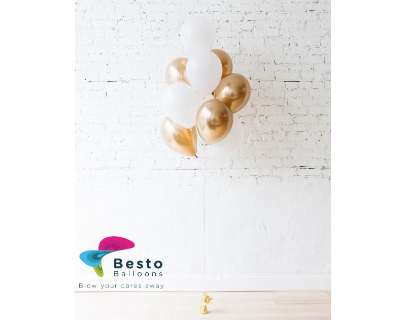 Latex Balloon Bouquet White and Golden