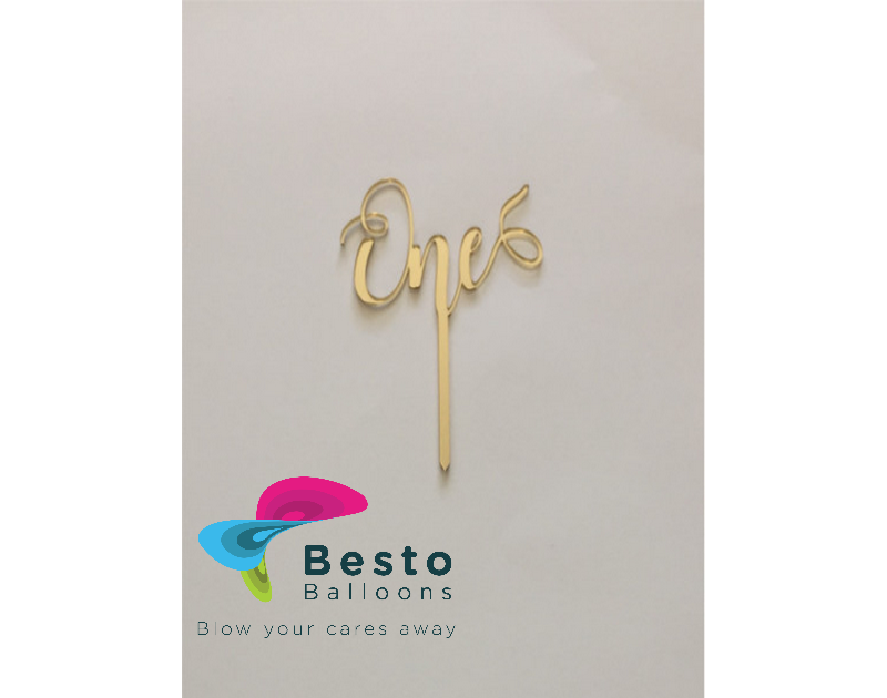 Cake Topper Acrylic - One Golden