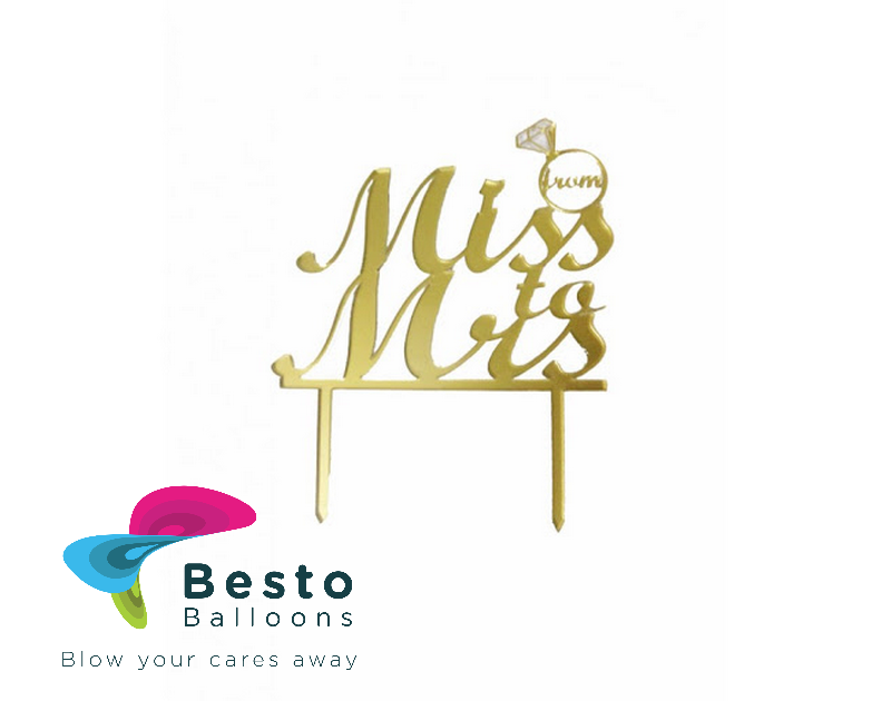Cake Topper Acrylic - From Miss to Mrs Golden