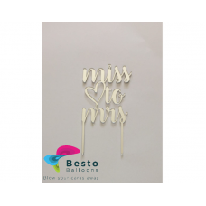 Cake Topper Acrylic - From Miss to Mrs Silver